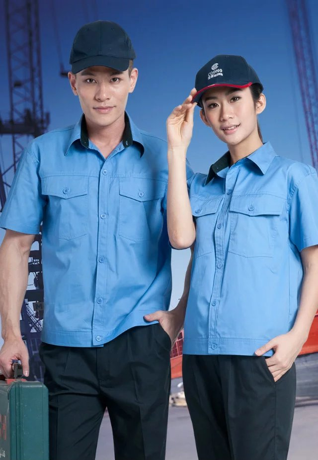 浅蓝色团体短袖工作服D104